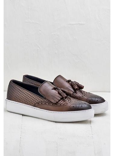 Elle %100 Deri Loafer Ayakkabı Taba